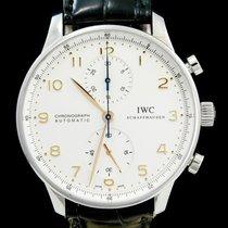 IWC Portuguese Chronograph tweedehands 41mm Zilver Chronograaf Krokodillenleer