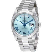 Rolex DAY-DATE 40mm Platinum President Ice Blue Roman  Dial...