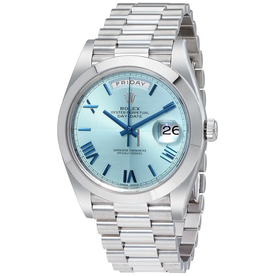 8b4d703ece756 Rolex DAY-DATE 40mm Platinum President Ice Blue Roman Dial... for ...