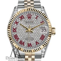 Rolex Datejust Pave Red Roman Diamond Dial Stainless Steel And...