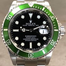 "Rolex Submariner 16610lv Anniv ""flat 4"" Grn Bzl W/rsc Papers..."