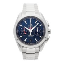 Omega Seamaster Aqua Terra pre-owned 43mm Blue Chronograph Date GMT Fold clasp