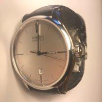 Union Glashütte Viro Date pre-owned 41mm Silver Date Leather