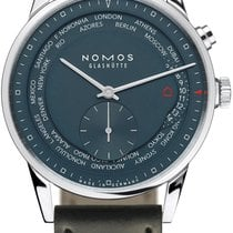 NOMOS Zürich Weltzeit Steel 40mm Blue United States of America, New York, Airmont