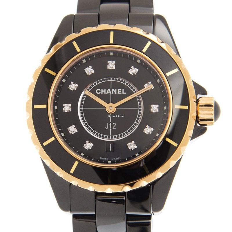 huge discount 69eab df32e Chanel J12 Ceramics Black Quartz H2543