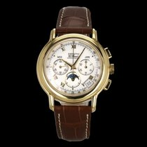 Zenith El Primero Chronomaster pre-owned 40mm White Moon phase Chronograph Date Month Tachymeter Leather