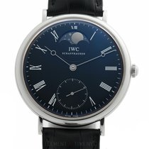 IWC Portofino Hand-Wound pre-owned 46mm Black Moon phase Crocodile skin
