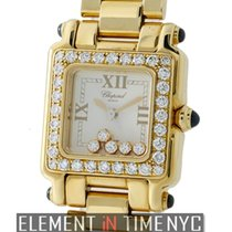 Chopard Happy Sport Square 5 Floating Diamonds 18k Yellow Gold