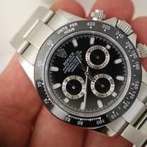 116520 Daytona Mens Watch In Steel, With Black Dial & Black...