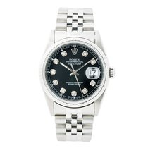 Rolex Datejust 16220 Men Automatic Watch Black Diamond Dial...