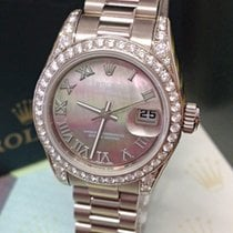Rolex White gold Automatic Mother of pearl Roman numerals 26mm pre-owned Lady-Datejust