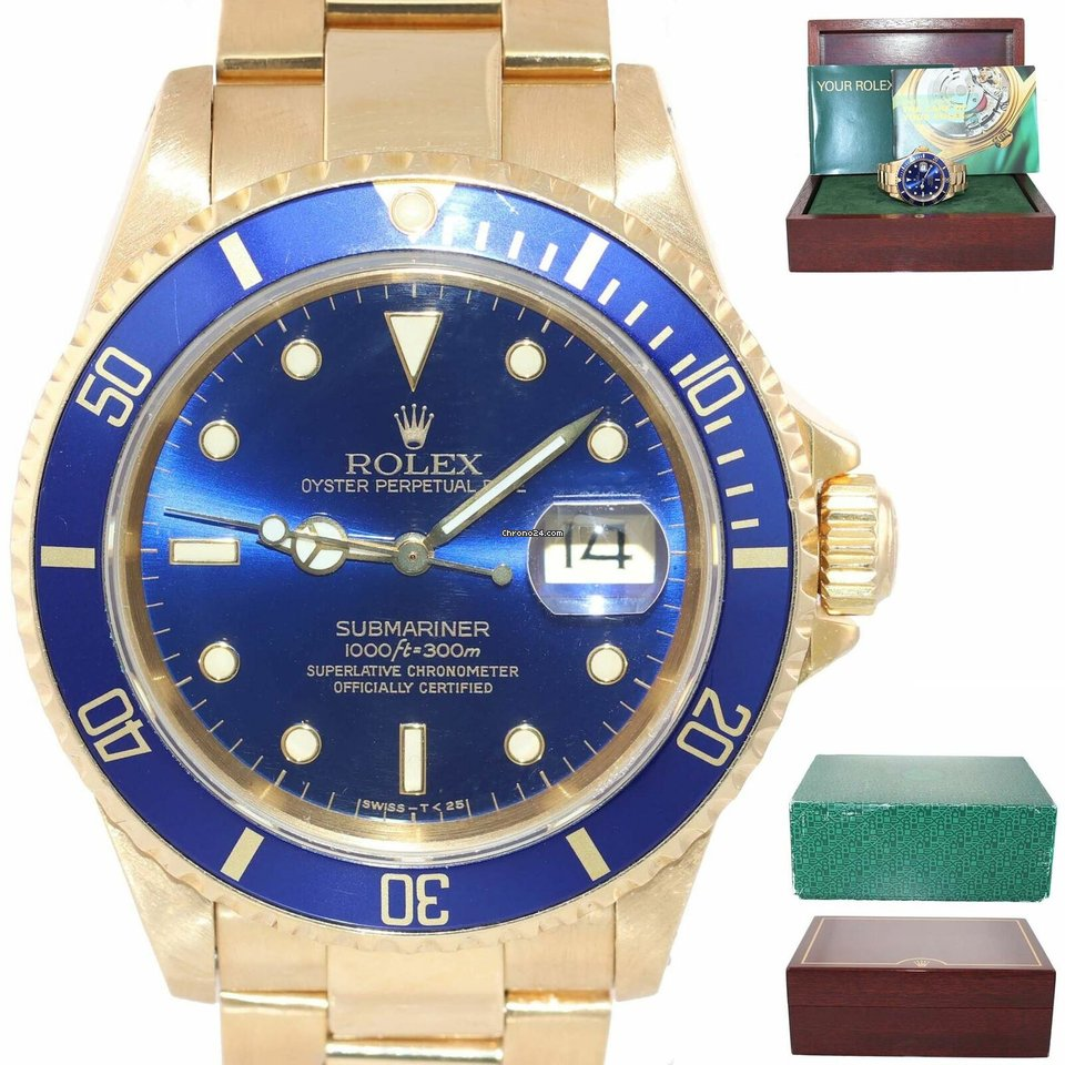 Rolex Submariner Blue Boxunpolished D Watch 18k Unpolished Yellow Gold 16618 Sunburst Dial 29WDIEH
