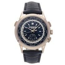 Patek Philippe World Time Chronograph Witgoud 39.2mm Blauw Geen cijfers
