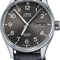 Oris Big Corwn Pro Pilot Grey Leather Strap Mens Watch...