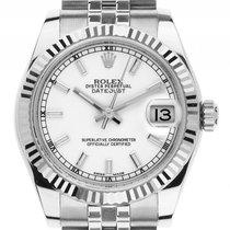 Rolex Datejust Medium Stahl Weißgold Automatik Armband Oyster...