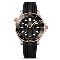 Omega Rose gold Automatic Black new Seamaster Diver 300 M