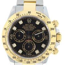 Rolex Daytona Bimetal Black dial with Diamonds