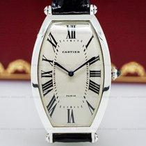 Cartier 2435 Platinum Tonneau Cintree Manual Wind 1990s RARE...