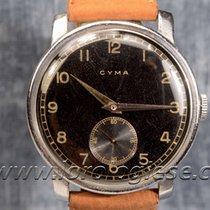 Cyma Oversize 38 Mm Original 1940`s Watch With Glossy Black...