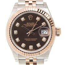 Rolex Lady-Datejust Zlato/Zeljezo 28mm Smedj