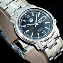 Seiko 5 Steel 37.5mm Black No numerals
