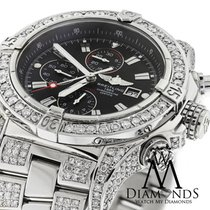 Breitling Super Avenger Black A13370 Covered Over 13ct Diamond...