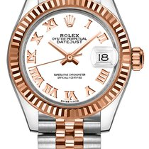 Rolex Lady-Datejust Acero y oro 28mm Blanco Romanos