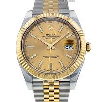 Rolex Datejust Acero y oro 41mm Champán Sin cifras