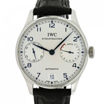 IWC Portuguese Automatic pre-owned 42.3mm Silver Leather
