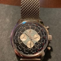 Breitling Transocean Chronograph Unitime pre-owned 46mm Black Chronograph Date Alarm GMT Steel