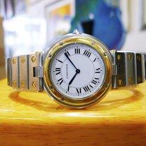 Cartier Santos Round Stainless Steel 18k Gold 32mm  Quartz Watch