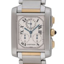 Cartier Tank Française pre-owned 28mm Silver Chronograph Date Gold/Steel