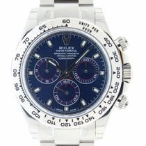 Rolex Solid 18k White Gold Daytona Blue Index Dial New