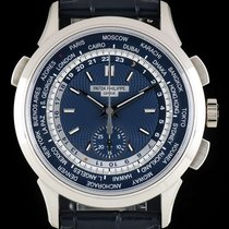 Patek Philippe World Time Chronograph Weißgold 39.5mm Blau Keine Ziffern