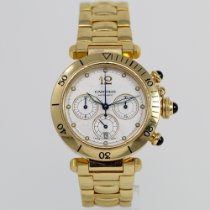 Cartier Pasha pre-owned 38mm Silver Chronograph Date Yellow gold