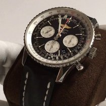 Breitling Navitimer GMT Chrono Steel Case Black Strap and Dial...