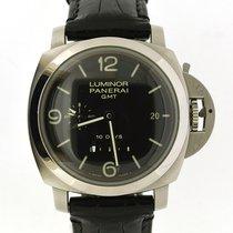 Panerai Luminor 1950 10 Days GMT gebraucht 44mm Datum GMT/Zweite Zeitzone Leder