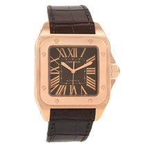 Cartier Rose gold Automatic Brown Roman numerals 38mm pre-owned Santos 100