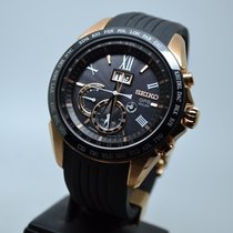 Seiko Astron GPS Solar Chronograph Steel 45.5mm Black Roman numerals