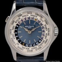Patek Philippe Platinum Automatic Blue 37mm pre-owned World Time
