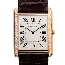 Cartier Tank 18 K Rose Gold With Diamonds Silvery White Manual...