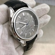 Omega Deville Stainless Steel Reference 48314031 Leather Strap...