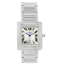 Cartier Tank Francaise Silver Guilloche Dial Mens Watch W51002q3