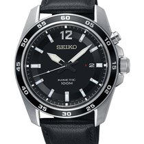 Seiko Kinetic Steel 42.6mm Black No numerals