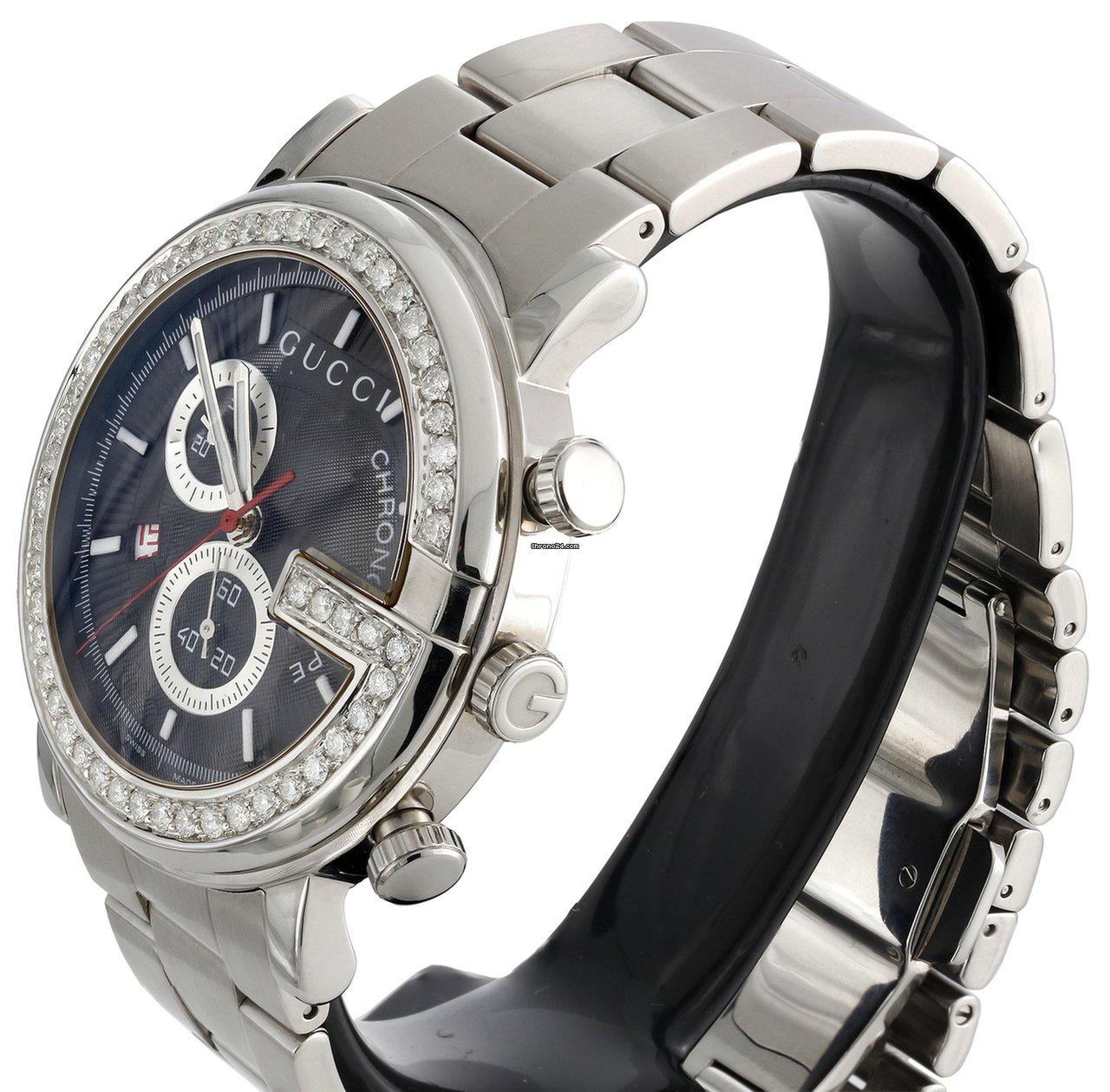 727d54d6152 Gucci Mens Custom Diamond Gucci Ya101309 G-Watch Black Dial... for ...