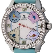 Jacob & Co. 51mm Quartz pre-owned Five Time Zone Mother of pearl