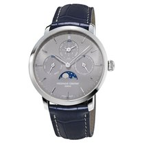 Frederique Constant Steel Automatic Grey 42mm new Manufacture Slimline Perpetual Calendar