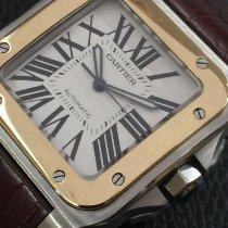 Cartier Santos 100 Золото/Cталь 38mm Белый Римские