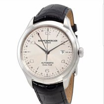 Baume & Mercier Clifton pre-owned 43mm Silver Date GMT Crocodile skin