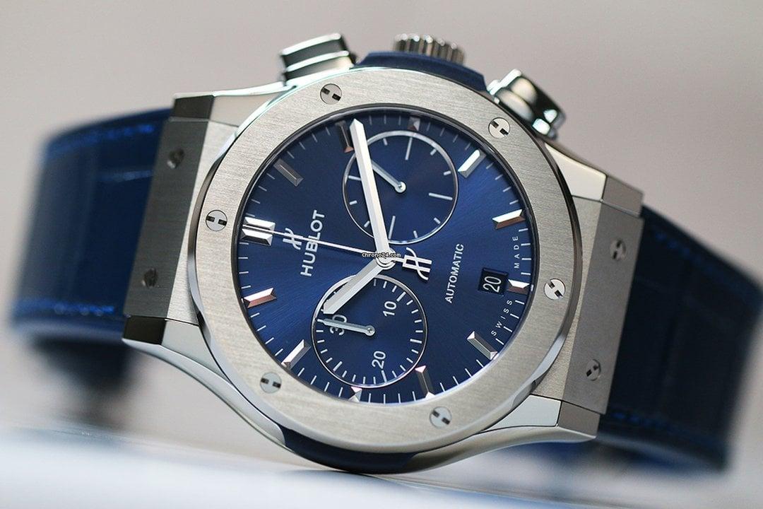 hublot classic fusion blue chronograph titanium vendre. Black Bedroom Furniture Sets. Home Design Ideas